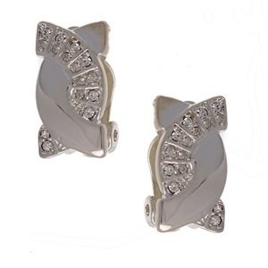 Tipi Silver Crystal Clip Earrings