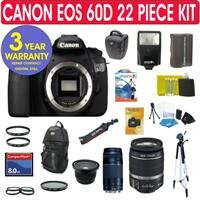 Canon EOS 60D 18MP Digital SLR Camera + Canon EF-S 18-55mm f/3.5-5.6 IS SLR Lens + Canon EF 75-300mm f/4-5.6 III Telephoto Zoom Lens + .40x Super Wide Angle Fisheye Lens + (2) UV Filters + Circular Polarizer Filter + Professional 57