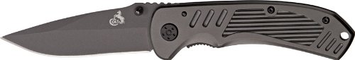 Colt Black Blade Titanium Linerlock Folding Knife With Finger Grooved Aluminum Handle