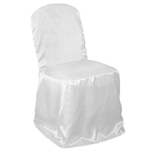 Lann's Linens Premium Satin Banquet Chair Cover - for Wedding or Party Use - White - 10pcs