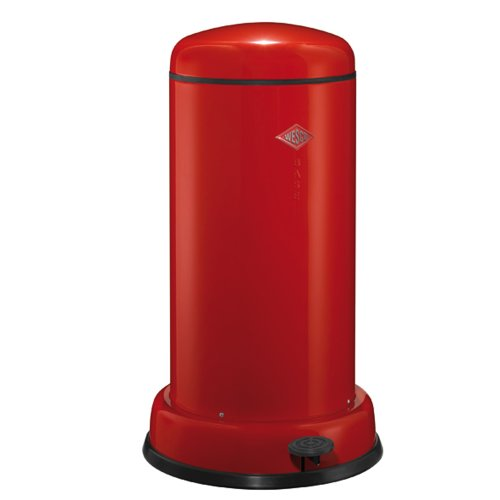 Wesco Baseboy Powder Coated Steel Waste Bin, 20 Litre, Red with Stainless Steel Lid