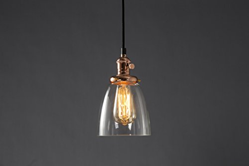 Pendant Lighting Glass Shade by Feven - Clear Ceiling Lights- Vintage Light Fixture- High Quality Build- Matches Any Decor- Bulb Included- Hanging Lamp Fixtures for Kitchen, Loft, Dining & More (Rame)