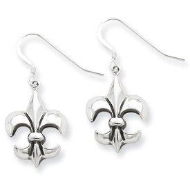 Sterling Silver Antiqued Fleur de lis Dangle Earrings
