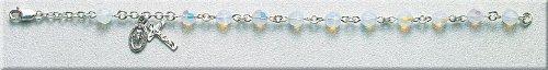 Sterling Silver Rosary Bracelet Bracelets Catholic 6mm Opal Swarovski Bead OCTOBER BIRTHDAY