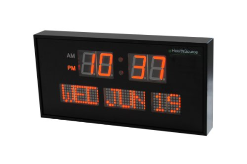 Ehealthsource big oversized digital red led calendar clock with day and date - shelf or wall mount (12 inch, orange)