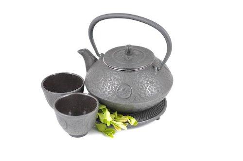 Find Bargain Black Antique Coin Cast Iron Tetsubin Tea Pot Kettle Set (w/ Trivet)