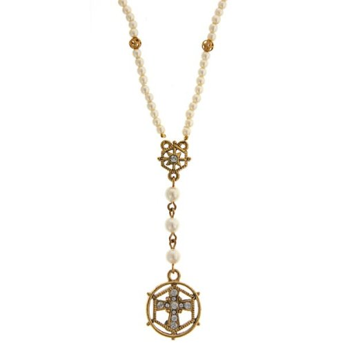Dual Frame Simulated Pearl Crystal Cross Necklace