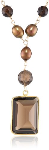 Gemstone Bezel and Faceted Round Bead, Chocolate Rice Shape Freshwater Pearl Gold over Silver Chain Necklace, 22