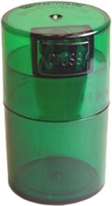 Tightvac Vitavac-Pocketvac Vacuum Sealed Pill Box & Vitamin Container, 1/2-Ounce/ 06. Liter, Emerald Tinted Body/Cap
