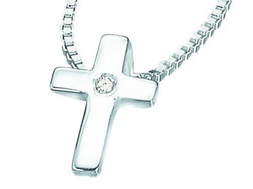 D for Diamond Sterling Silver P800 Girls Diamond Set Cross Pendant