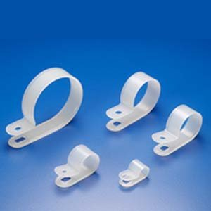 "InstallerParts R-Type Cable Clamp 3/8"" -- Clear White -100 Piece Pack -- Home, Automotive, Marine, Office and More!"