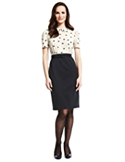 M&S Collection Heart Print Skirt Dress with Belt
