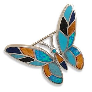 Synthetic Opal and Multicolor Stone Butterfly Pin