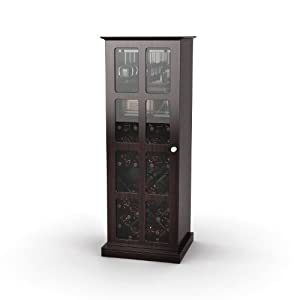 Atlantic 94835842 Windowpane 24 Wine Cabinet in Espresso