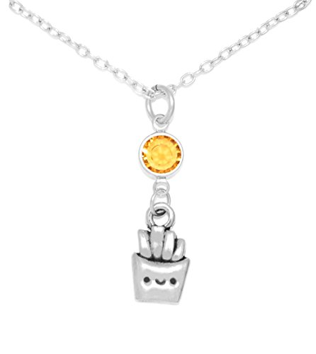 Clayvision Happy French Fries Charm Necklace w/ Topaz Colored Crystal November (French Fry Necklace compare prices)
