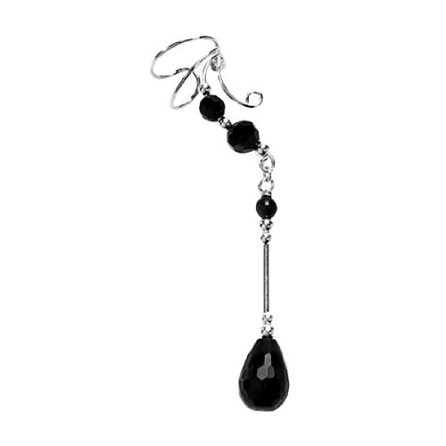 Sterling Silver Right Only Pierceless Long Dangle Pear Shaped Black Onyx Ear Cuffs