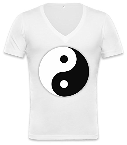 Yin And Yang Dark And Light Symbol Unisex Deep V-Neck T-Shirt X-Large