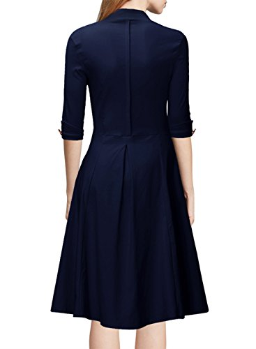 MIUSOL Women's Retro Deep-V Neck Half Sleeve Vintage Casual Swing Dress Navy Blue X-Large