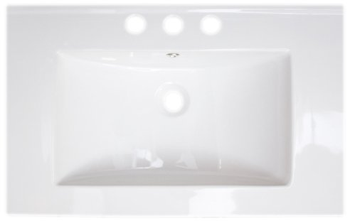 American Imaginations 390 24-Inch by 18-Inch White Ceramic Top with 8-Inch Centers