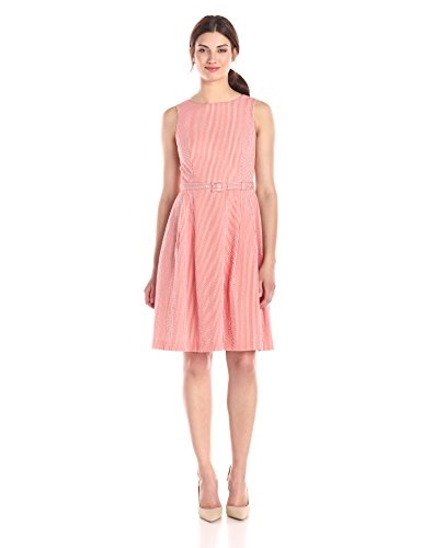 Anne Klein Women's Seersucker Boat Neck Fit and Flare Belted Dress, Orange/White, 4