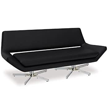 Loveseat Sofa with Metal Base in Black Vinyl