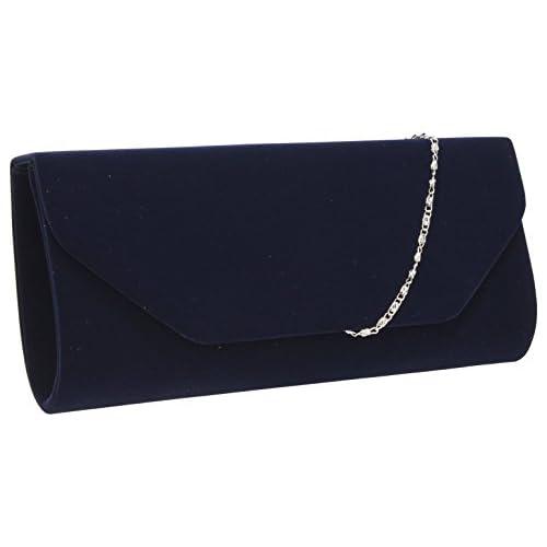 Isabella Velvet Womens Half Envelope Style Clutch Bag