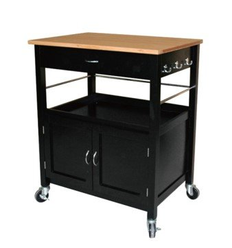 eHemco Kitchen Island Cart Natural Butcher Block Bamboo Top with Black Base (Butcher Block Bar compare prices)