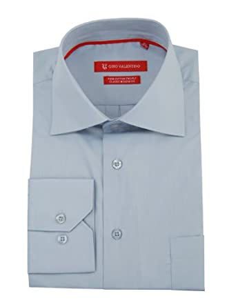 "Gino Valentino Men's Modern Spread Collar Barrel Cuff Dress Shirt (15.5"" Neck 34/35 Sleeve, Light Blue)"