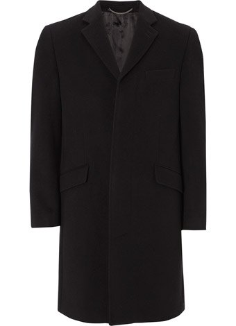Austin Reed Black Classic Wool & Cashmere Coat REGULAR MENS 38