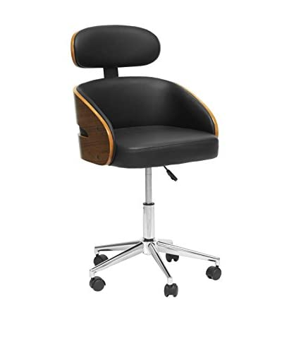 Baxton Studio Kneppe Office Chair, Black/Walnut/Chrome As You See
