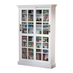 Window Pane Cabinet with Sliding Tempered Doors in White unit for large media collection 2 sliding doors with glass windows handles for sliding 8 adjustable shelves wood durable 31.75Wx9.25Dx48.75H Southern Enterprises 2 Door Cabinet