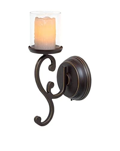 Candle Impressions Flameless Candle Swirl Design Sconce with Melted Drip Pillar, Bronze