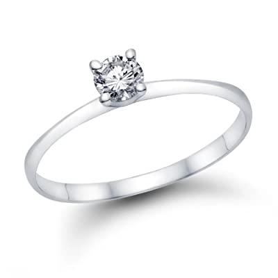 1/5 ct. Round Diamond Solitaire Engagement Ring in 18k White Gold