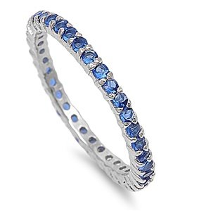 2mm Sterling Silver WHITE GOLD TONE Stackable Handset Sapphire Blue CZ Eternity Engagement Ring 4-10 (9)
