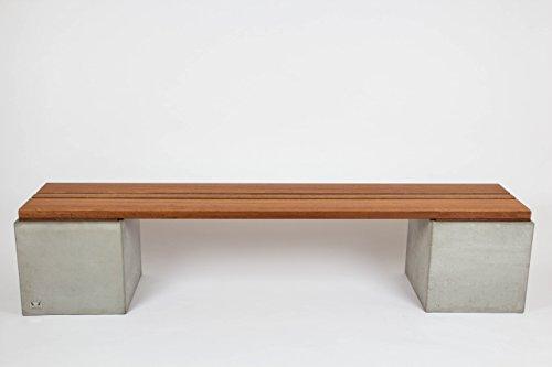 CARVIDO-Indoor-Design-Sitzbank-aus-Beton-und-Bangkirai-wetterrobuste-Bank-fr-Garten-Balkon-Terrasse-Madero-natur-200x40x43-cm-301