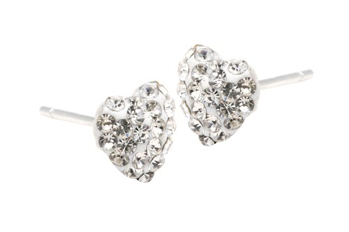 Authentic Diamond Color Crystal Heart Stud Earrings Sterling Silver 2 Carats Total Weight Special Limited Time Offer Super Sale Price, Comes with a Free Gift Pouch and Gift Box