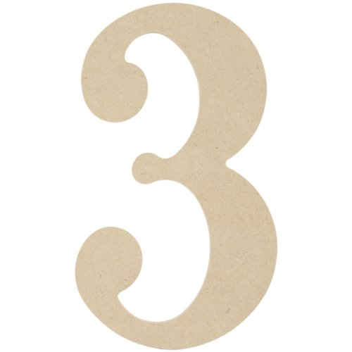 MPI MDF Classic Font Wood Letters and Numbers, 9.5-Inch, Number 3 (Wooden Numbers compare prices)