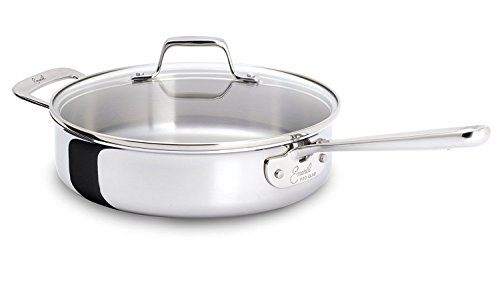Emeril E9833764 PRO-CLAD Tri-Ply Stainless Steel Dishwasher Safe Saute Pan Cookware, 4-Quart, Silver