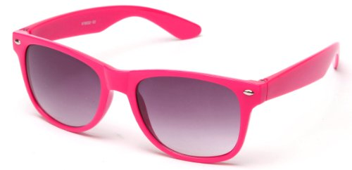 80's Classic Blue Brothers Wayfarer Styles Vintage Retro Solid Color Sunglasses in Hot Pink
