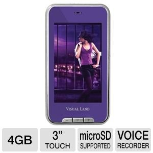 Visual Land V-Touch Pro 4 GB 3-Inch Touchscreen MP3 Player with TV Out, MicroSD and Camera (Purple)