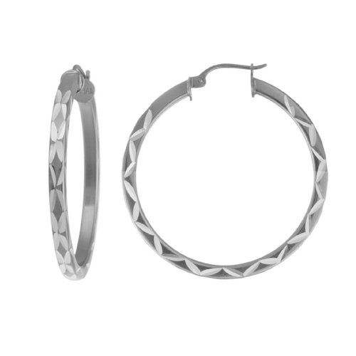 Sterling Silver Square Tube Hoop Earrings (1.97