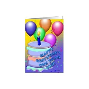 Amazon.com: Birthday Boy Blue Cake 1 Year Old Card: Toy