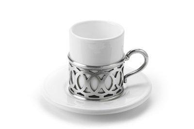 Match Italian Pewter Lattice Espresso Cup with Ceramic Saucer