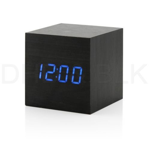 New Modern Wooden Wood Digital Led Desk Alarm Clock Thermometer Timer Calendar Black