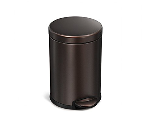 simplehuman Mini Round Step Trash Can, Dark Bronze Stainless Steel, 4.5 L / 1.2 Gal (Bathroom Garbage Can Bronze compare prices)