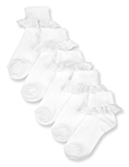 5 Pairs of Cotton Rich Frill Broderie Socks