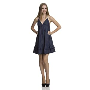 (VZ6006) Dollhouse Dark Chambray Tiered Dress in Dark Denim Size: S