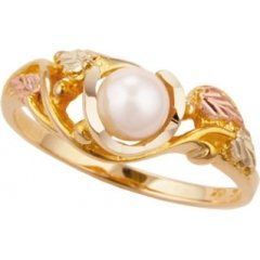 Beautiful! 10K Yellow-gold Authentic Black Hills Gold Women's Pearl Ring
