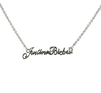 Justin Bieber Silver Tone Name Necklace W/gift Box