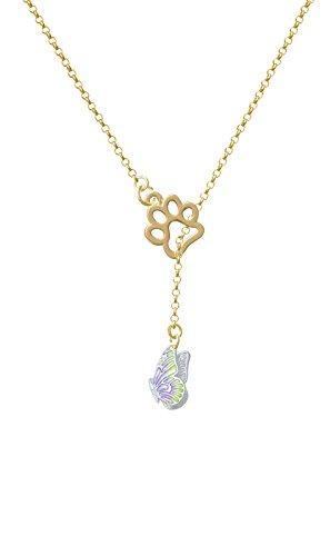 Translucent Purple & Lime Green Flying Butterfly Gold Tone Paw Lariat Necklace